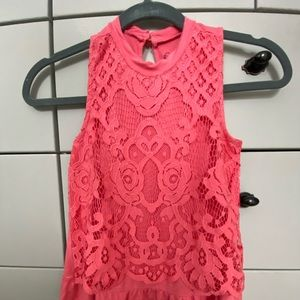 Girls tank lace overlay top, coral /pink color